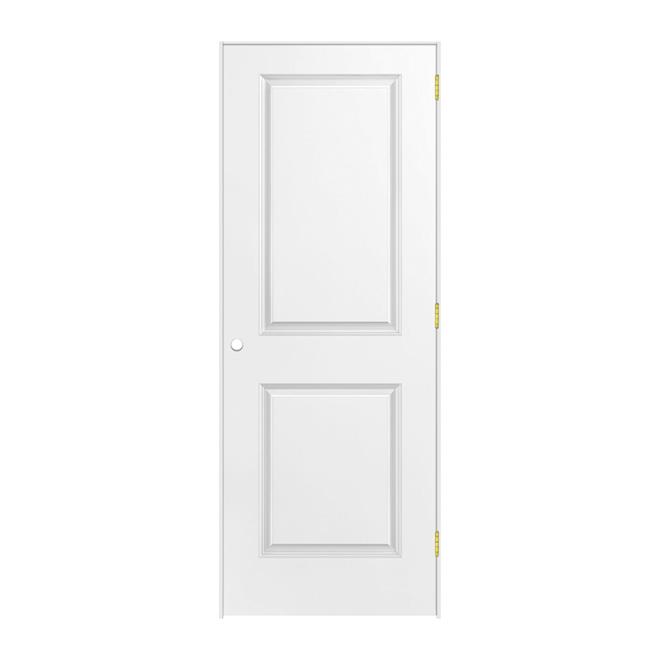 Porte à 2 panneaux pré-montée, droite, fibre durcie apprêtée, 30 po x 80 po x 1 3/8 po