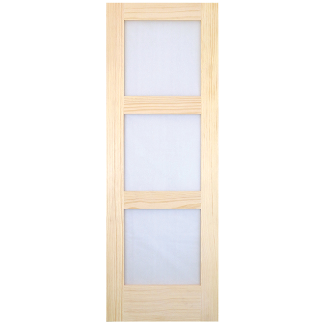 "Interior Door - Clear Pine - 3 Glass Panels - 28"" x 80"""