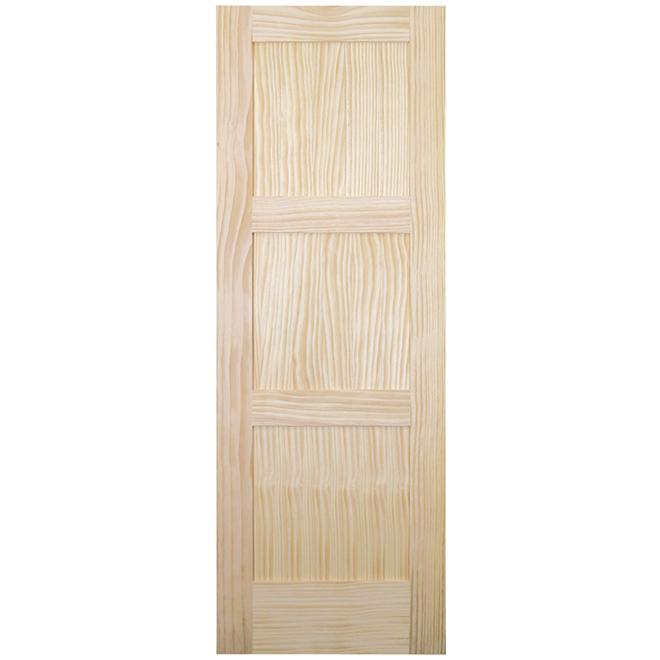 """Porte d'intérieur, pin clair, 3 panneaux, 28"""" x 80"""", naturel"""