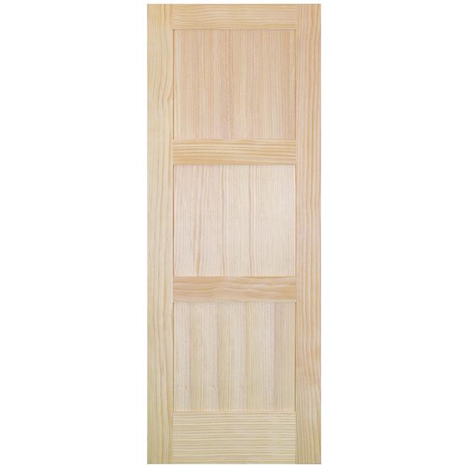 "Interior Door - Clear Pine - 3 Panels - 32"" x 80"" - Natural"
