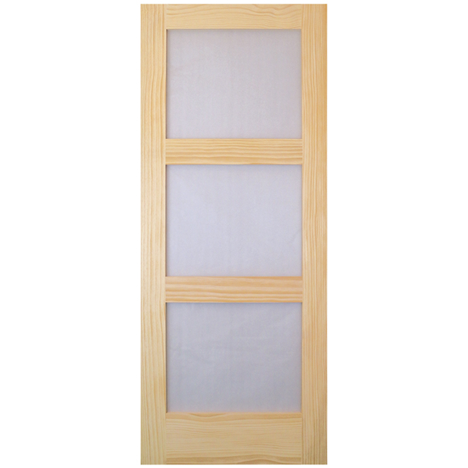 """Porte d'intérieur, pin clair, 3 panneaux de verre, 32"""" x 80"""""""