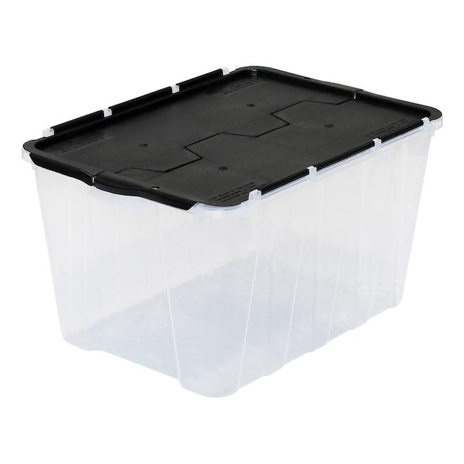 Flip-Top Storage Bin - 49L - Clear/Black