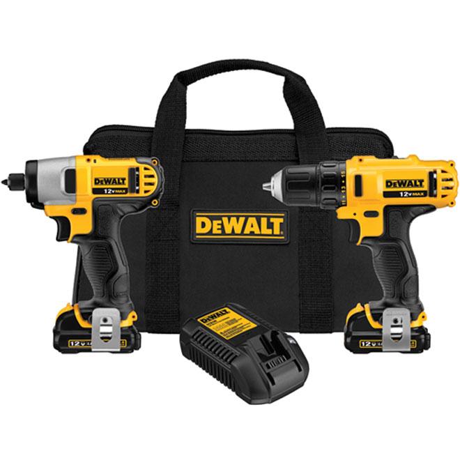 Drill/Driver and Impact Driver Combo Kit - Cordless - 12 V