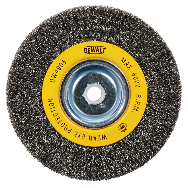 "6"" Silver Steel Bench Grinder Crimped Wire Brush"