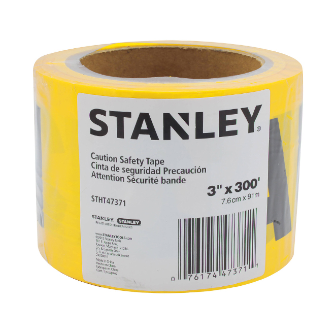 """Ruban de sécurité, 3"""" x 300', jaune"""