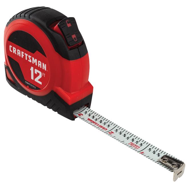 Self-Locking Measuring Tape - 12' - Red