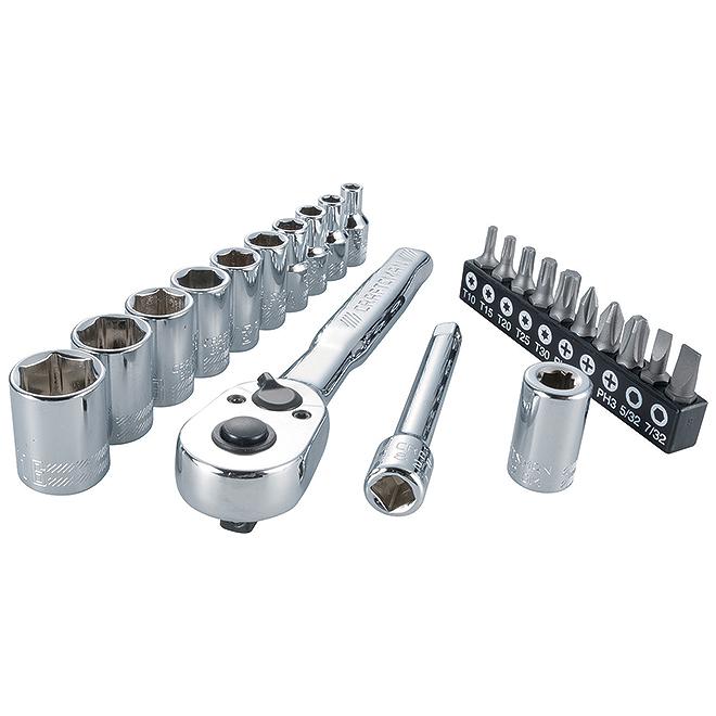 """Ensemble d'outils nano métrique en acier, 1/4"""", 24 pièces"""