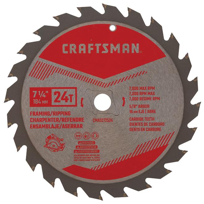 """Saw Blade - Carbide - 7 1/4"""" - 24 TH"""