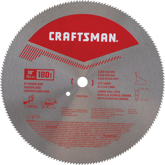 "Circular Saw Blade for Plywood - 10"" - 180 TH"