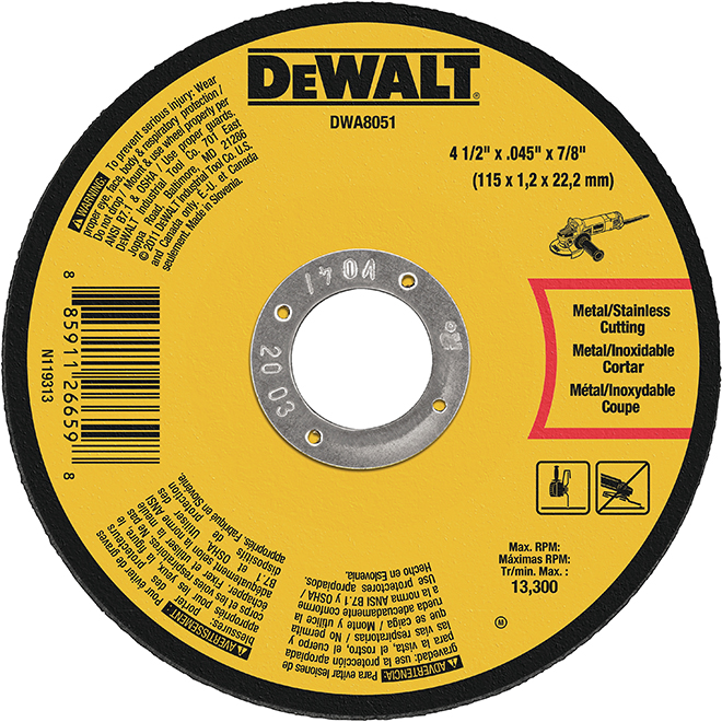 "DeWalt Cut-Off Wheel - Type 1 - 4 1/2"""