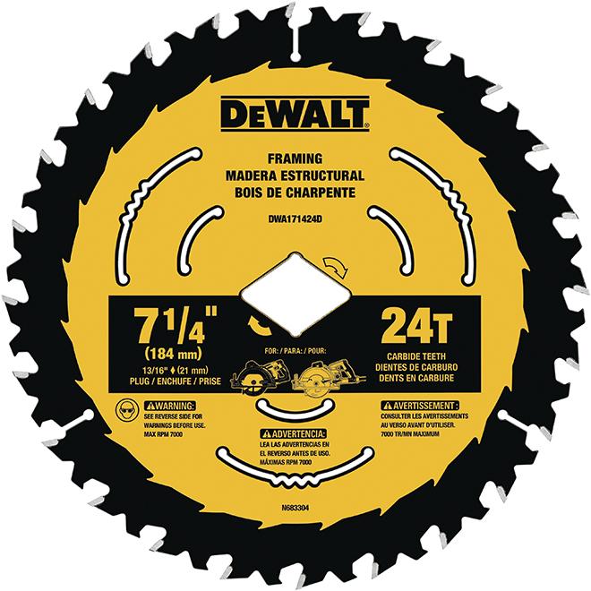 Lame de scie circulaire à bois DeWalt, pointe au carbure, 7 1/4 po dia, 24 dents