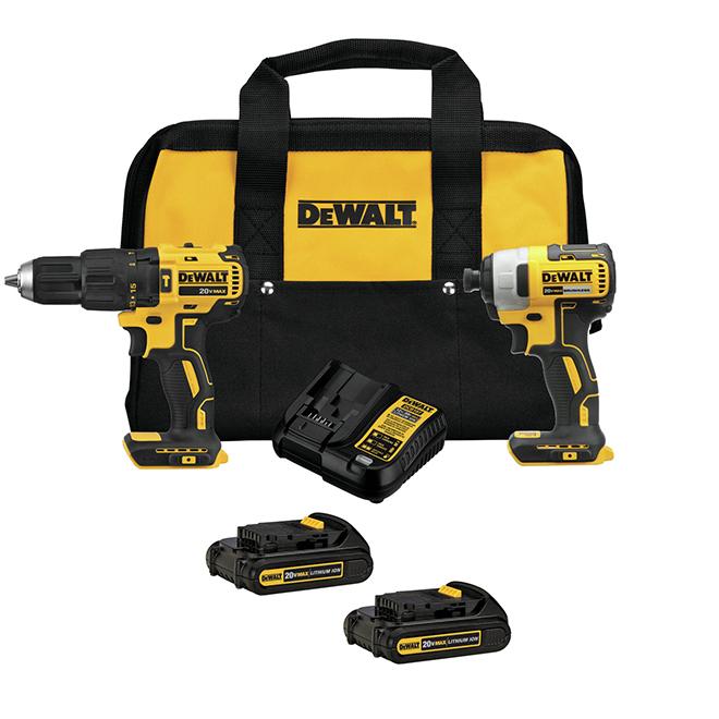 Dewalt Hammer Drill and Impact Driver - Set of 2 Tools - 20 V