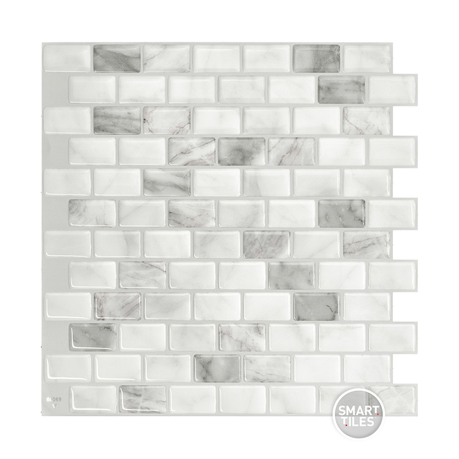 Tuiles autocollantes Ravenna, blanc, 2,48 pi², 4/boîte