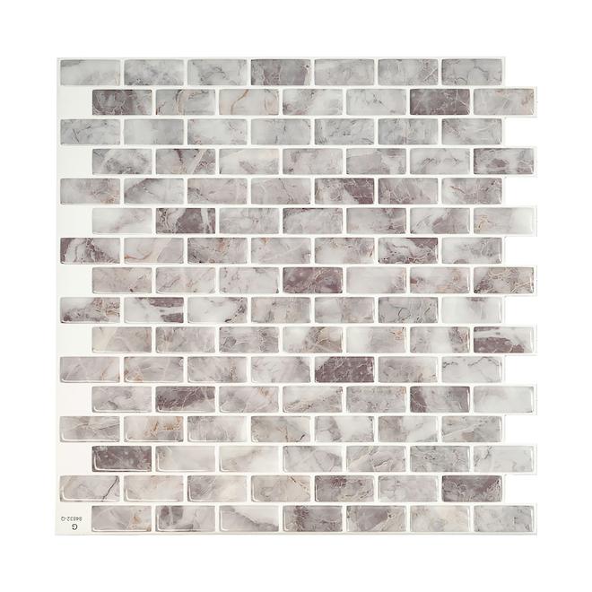 Mosaique adhésive Smart Tiles, 9,94'' x 9,92'', gris pâle