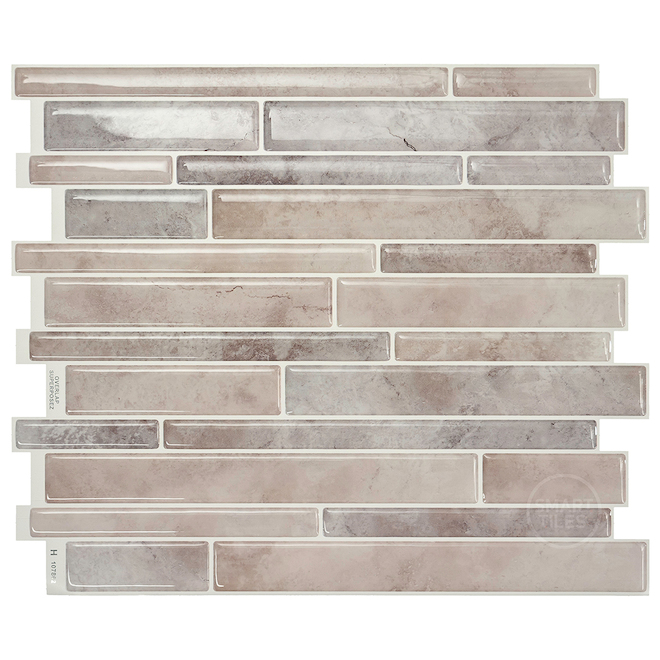 "Smart tiles Adhesive Wall-Tile - 11.5""x9.6"" - Grey and Taupe"