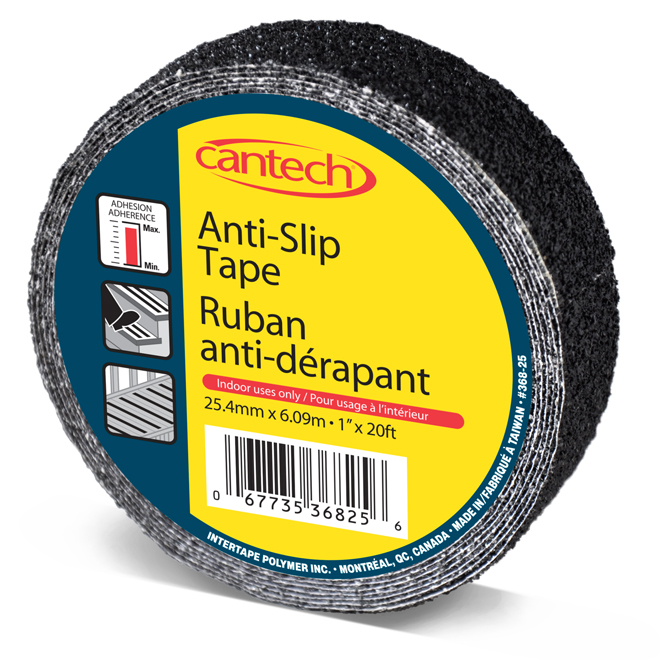 "Ruban adhésif antidérapant, 1"" x 20', noir"