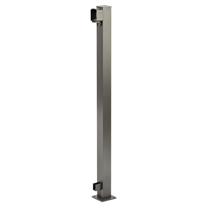Poteau d'extrémité pour rampe, 4'' x 4'' x 42'', gris titane