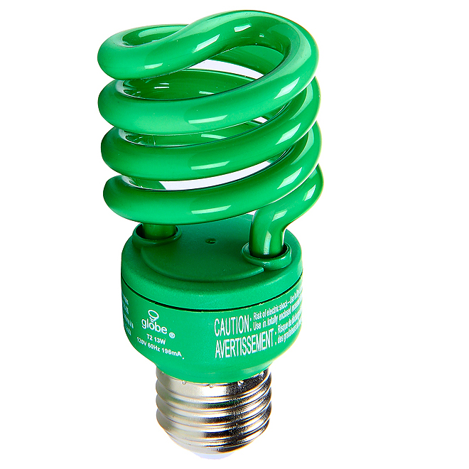 Ampoule fluocompacte T2 en spirale, 13 W, vert, 1/pqt