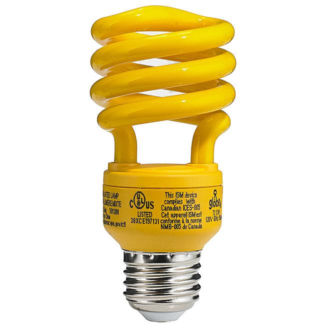 Ampoule jaune anti-insectes,13 W, jaune, 1/pqt