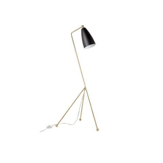 "Zephir Floor Lamp - 60"" - Matte Black Shade - Antique Brass"