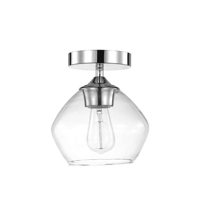 Globe Electric Harrow Semi-Flush Mount Ceiling Light - 1 Light - 8-in - Glass/Metal - Chrome/Clear