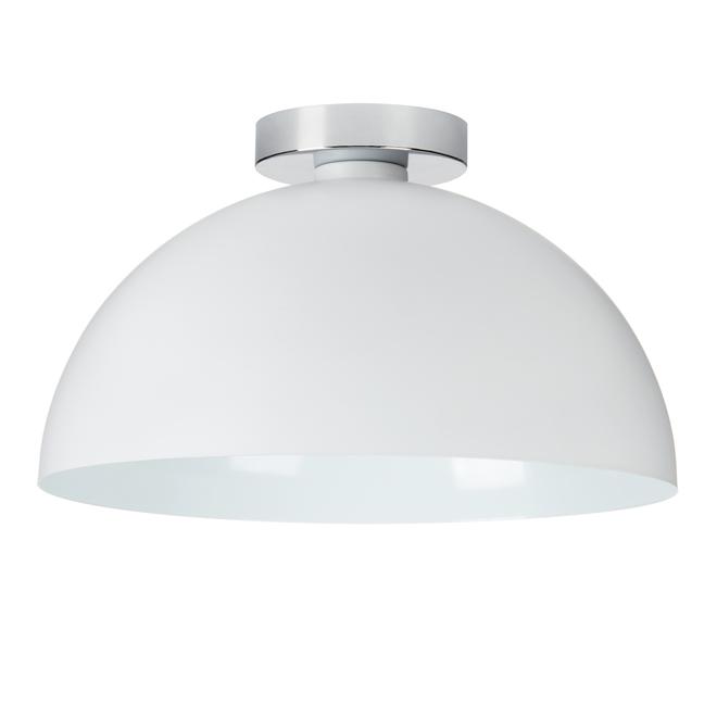 Semi-plafonnier Globe à base chromée, rond, 14 po, 1 lumière, blanc mat