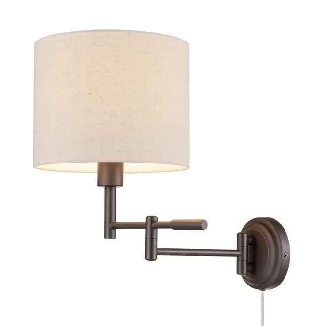 Globe Electric 2-in-1 Wall Sconce with Swing Arm - 1 Light - Dark Bronze/Beige