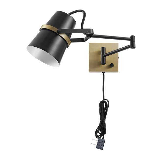 Globe Electric McKibbin 2-in-1 Wall Sconce with Swing Arm - Metal - 22-in - Matte Black/Brass