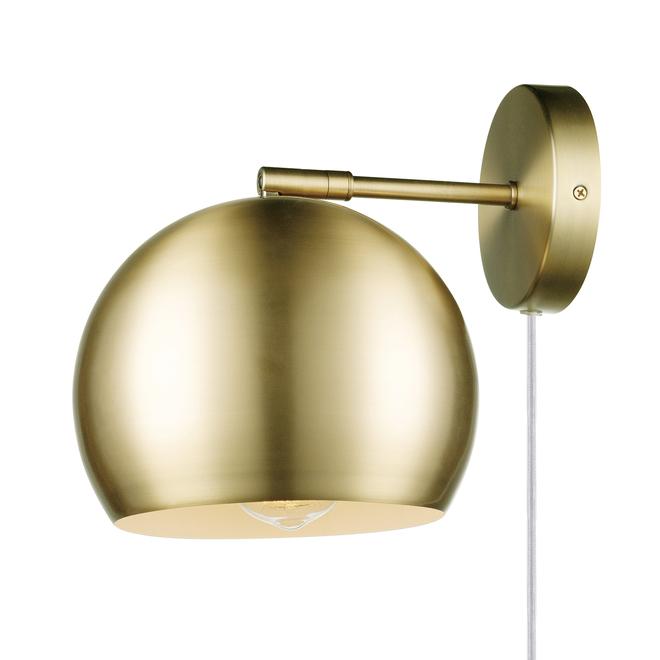 Globe Electric 2-in-1 Wall Sconce - 1 Light - Matte Brass