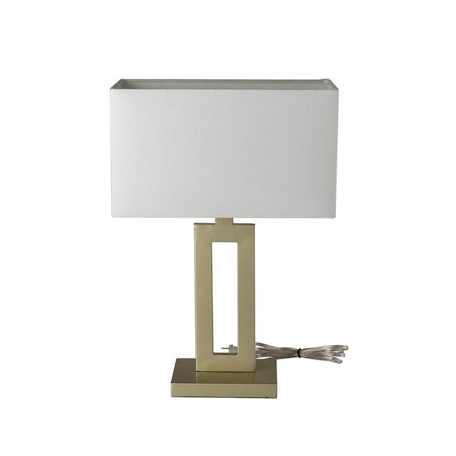 Lampe de table D'Alessio de Globe Electric, 20 po, tissu/métal, champagne/blanc