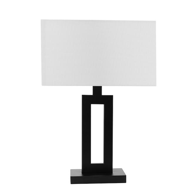Lampes de table D'Alessio Globe Electric, 20 po, métal/tissu, noir, ensemble de 2