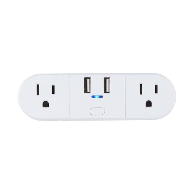 Prise Wi-Fi intelligente, Globe Electric, 2 sorties 2 USB (21A), blanc