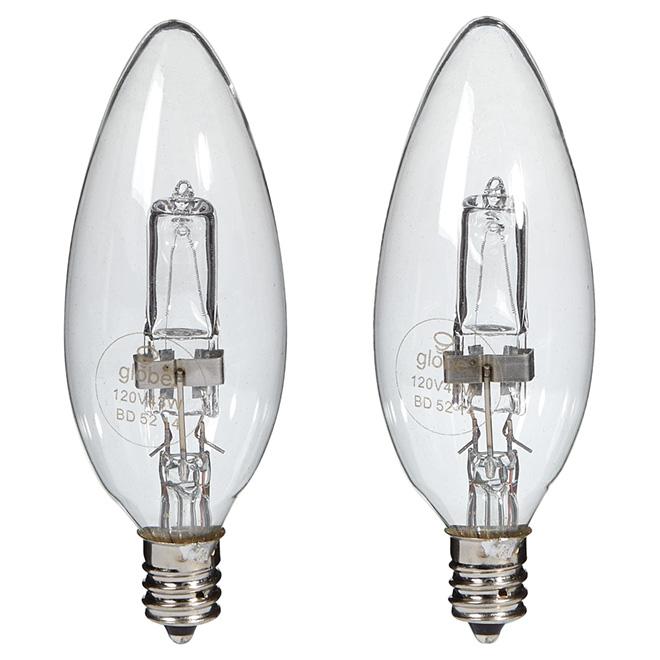 Paquet de 2 ampoules halogènes transparentes B10 de 43 W