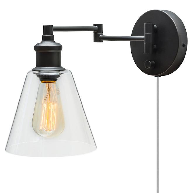 Globe - 1-Light Swing-Arm Wall Sconce - Dark Bronze