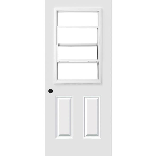 """Porte d'entrée avec fenêtre à guillotine, 34"""" x 80"""", blanc, droite"""