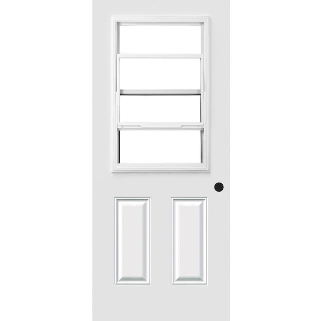 """Hung-Window Exterior Steel Door - 34"""" x 80"""" - White - Left"""