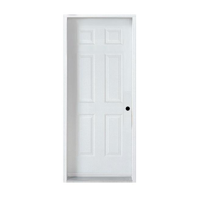 Porte en acier à 6 panneaux, gauche, 34'', blanc