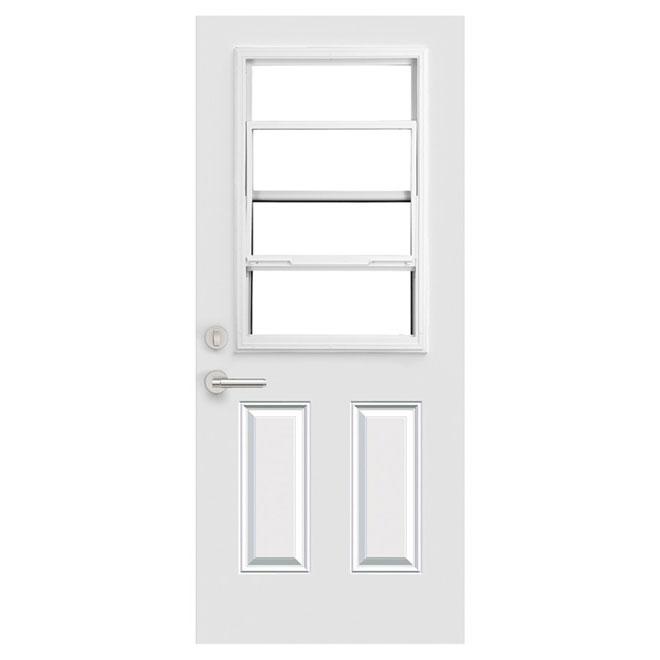Porte en acier à ouverture gauche Portes ARD avec fenêtre guillotine, 31,38 po x 82,5 po
