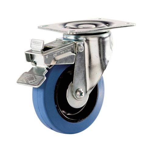 Roulette pivotante avec frein en « Dyna-Tred »