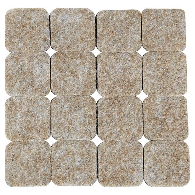 """Coussinets autoadhésifs Eco, carrés, beiges, 1"""", 16/pq"""