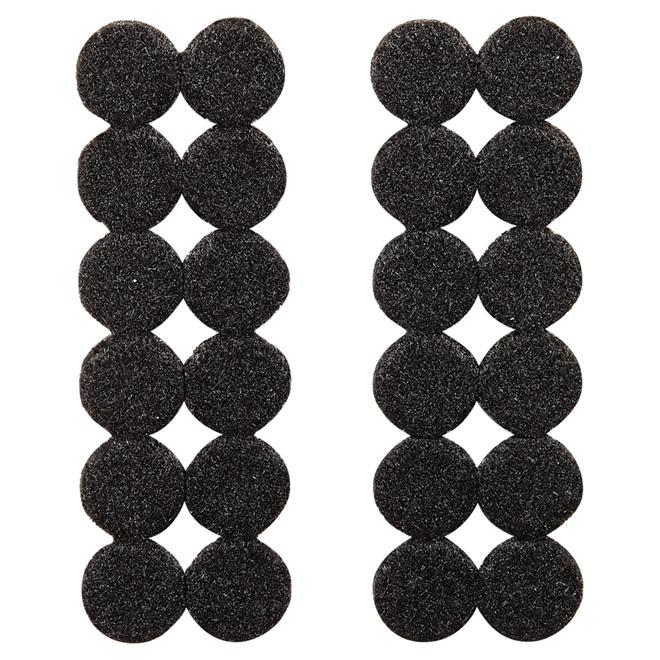"""Coussinets autoadhésifs Eco, ronds, noirs, 3/4"""", 24/pq"""