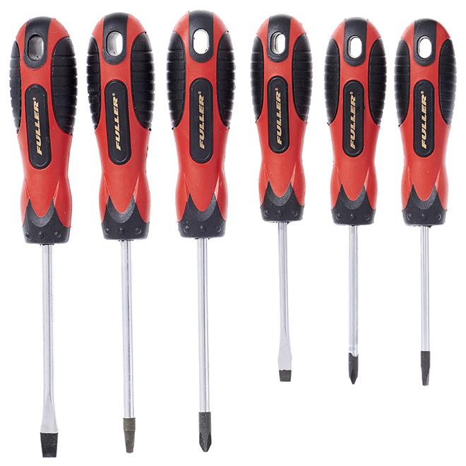Set of 6Screwdrivers - Chrome-Vanadium Steel - Black/Red