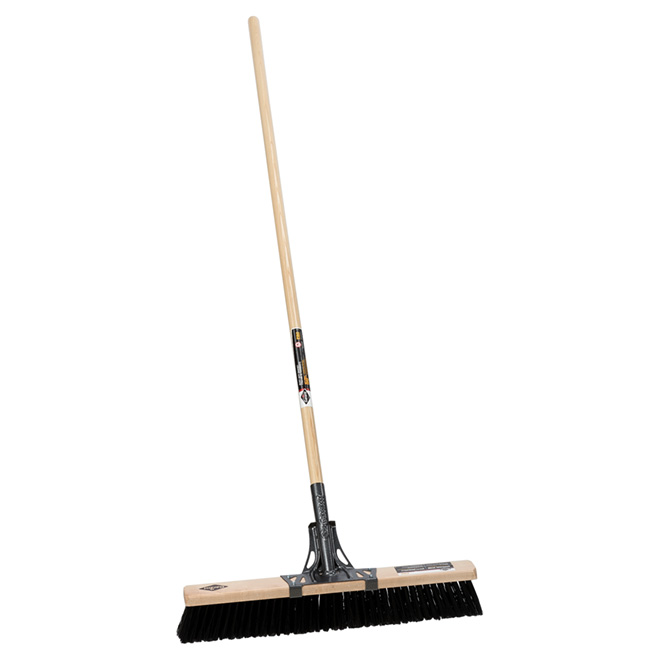 "Push Broom for rough Surfaces - 24"" - Wooden Handle"