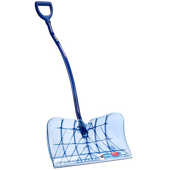 """Grattoir à neige à manche ergonomique, 22"""", bleu translucide"""