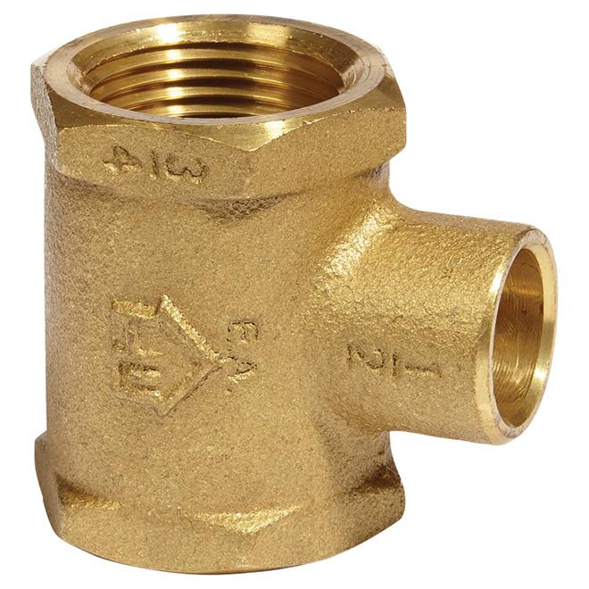 """T-Fitting - Lead-Free Brass - 3/4""""x3/4""""x1/2"""" - FIP x FIP x C"""