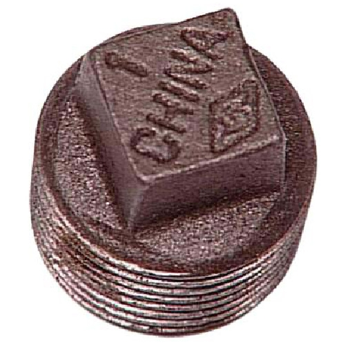 "Black Iron Plug with Square Head - 1/2"""