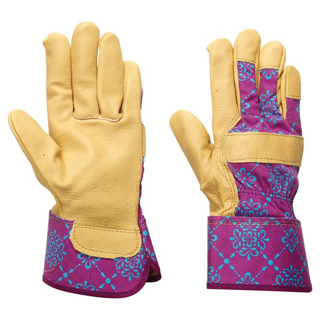 Gants de jardinage pour femme en cuir, grands, mauves