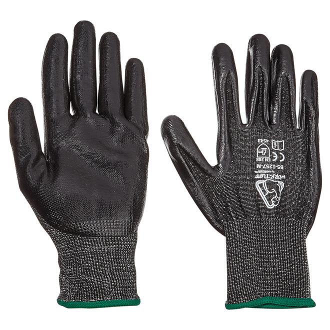 Men's Level 5 Cut-Resistant Nitrile-Dipped Work Gloves - M