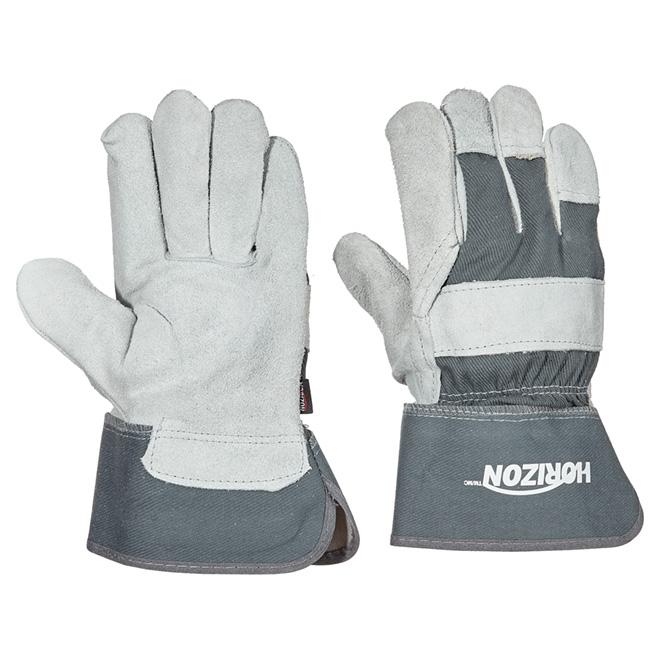 Men's Cow Split Leather Work Gloves - Grey - XL