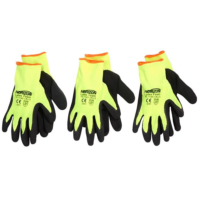 Men's Latex Coated Gardening Gloves - Lime - L-XL - 3 Pack